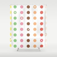 doughnut Shower Curtains featuring DOUGHNUT DOTS by Be Prismatic ™