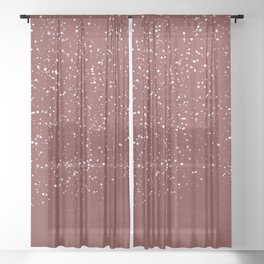 Snowfall in Red Sheer Curtain
