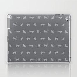 Grey Cute Cat Pattern Laptop & iPad Skin