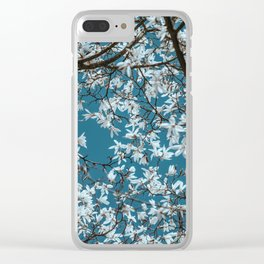 Beautiful white flowers all over the trees with clear blue sky in the background Clear iPhone Case