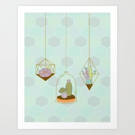 Cactus Terrarium Art Print