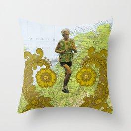 Cross Continental Marathon of Love Throw Pillow