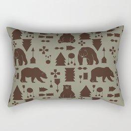 Tribal Bear Brown Rectangular Pillow