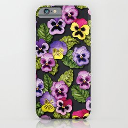 Purple, Red & Yellow Pansies With Green Leaves - Floral/Botanical Pattern iPhone Case