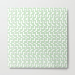 Geometric Sea Urchin Pattern - Light Green & White #609 Metal Print