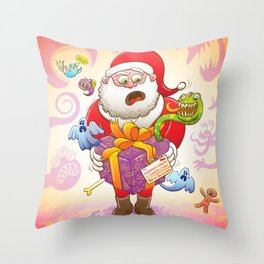 A Christmas Gift from Halloween Creepies to Santa Throw Pillow