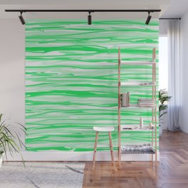 Apple Green and White Stripes Abstract Wall Mural
