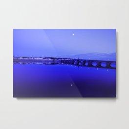 France landscape, Amboise, Loire valley, dusk, reflection, river, blue Metal Print