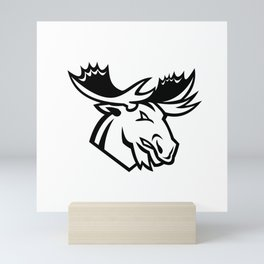 Angry Moose or Elk Looking to Side Mascot Black and White Mini Art Print
