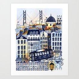 Midnight in Lisbon Art Print