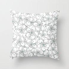 Cherry Blossom Mint Throw Pillow
