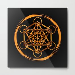 Metatron Cube Gold Metal Print