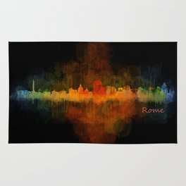 Rome city skyline HQ v04 Dark Rug