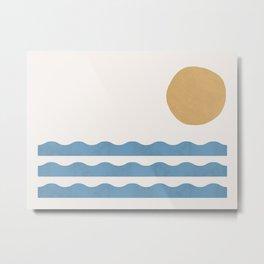 Sun Wave - Seascape Abstract  Metal Print