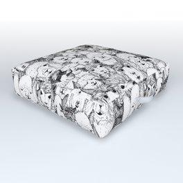 just alpacas black white Outdoor Floor Cushion