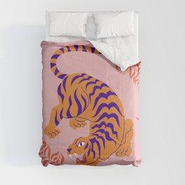Mid Century Magic Minimalist Crouching Tiger Chinese Zodiac Moon Sun Pink Pastel Colors Comforters
