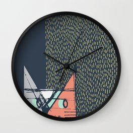 Cubist Cat Study #1 by Friztin Wall Clock