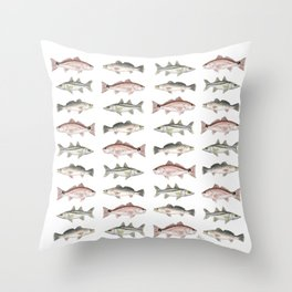 Pattern: Inshore Slam ~ Redfish, Snook, Trout by Amber Marine ~ (Copyright 2013) Throw Pillow
