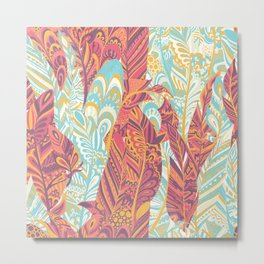 Modern abstract pink teal yellow hand painted bohemian feathers Metal Print