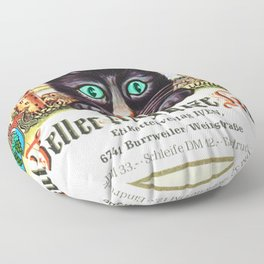 Vintage Zeller Schwarze Katz Black Cat Wine Bottle Label Print Floor Pillow