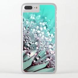 Dandelion Blue Diamonds Clear iPhone Case