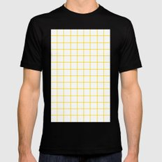 Grid (Gold/White) MEDIUM Black Mens Fitted Tee