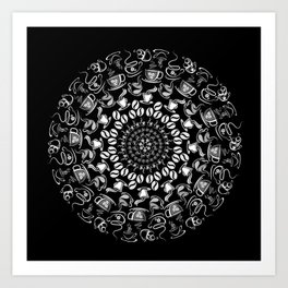 Coffee mandala white on black Art Print