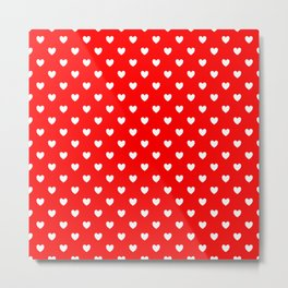 White Hearts on Scarlet Red Metal Print