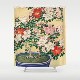 Ohara Koson - Blooming azalea in blue pot Shower Curtain