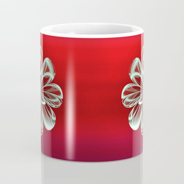 Cyan Bloom on Red Coffee Mug