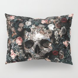 Skull and Floral pattern Pillow Sham