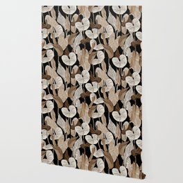 Lush lily - russet Wallpaper