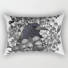 Raven in the Garden of Departed Botanicals Rectangular Pillow