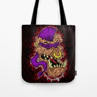 bebop Tote Bags featuring Bebop is infected! by DesecrateART (Infected)