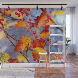Elegant Hawthorn Berries In Autumn Wall Mural