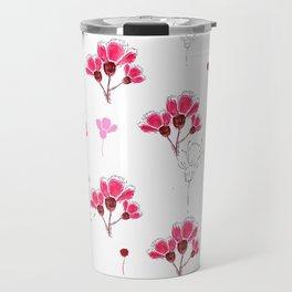 Pink Doodle Flowers Pattern Travel Mug