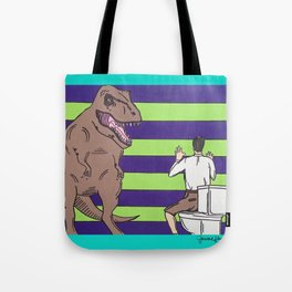 """Jurassic Park """"Died on the Shitter"""" Tote Bag"""