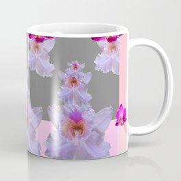 PURPLE  FUCHSIA ORCHIDS  SPRINKLES ON  GREY-PINK ART Coffee Mug