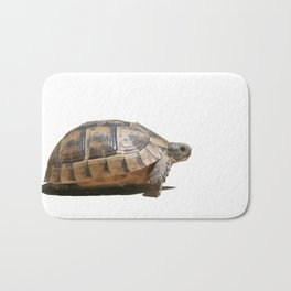 Sideview of A Walking Turkish Tortoise Isolated Bath Mat