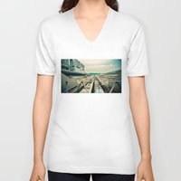 train V-neck T-shirts featuring Train station by Sookie Endo