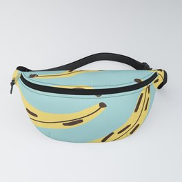 Seamless pop art style pattern of yellow and black dark bananas Fanny Pack