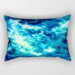 stormy nebula clouds turquoise blue Rectangular Pillow