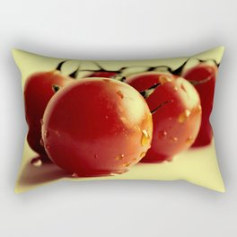 Tomatoes on the bush on yellow background Rectangular Pillow