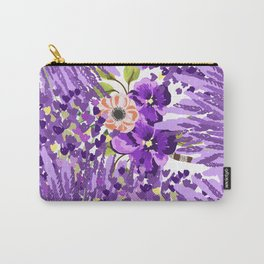 Lilac violet lavender lime green floral illustration Carry-All Pouch