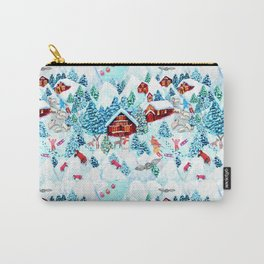 Alpine Chalets with reindeer, owls and snow (watercolor) Carry-All Pouch