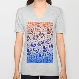 rose pattern texture abstract background in pink and blue Unisex V-Neck
