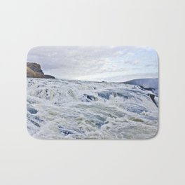 Closeup of the Rushing Waters Falling Down the Rocks of Gullfoss Waterfall in Iceland Bath Mat
