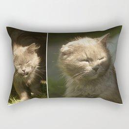 Gray cat walks on a green grass Rectangular Pillow