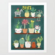 Cactus and Succulent Calendar 217 Art Print
