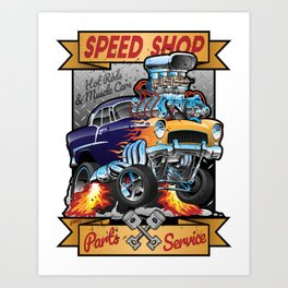 Speed Shop Hot Rod Muscle Car Parts and Service Vintage Cartoon Illustration Art Print
